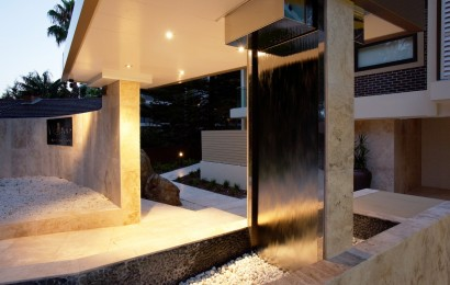 Sophisticated Sunset weeping wall fountain