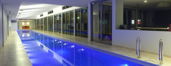 The ultimate luxury, a Sunset indoor lap pool and spa!