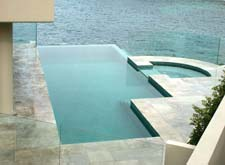 Sydney, eastern suburbs. Wet edged infinity swimming pool and spa design